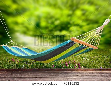 Relaxing On Hammock In Garden