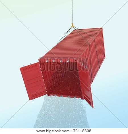 Import Problem Concept - Red Shipping Container With Wather Throw From Inside