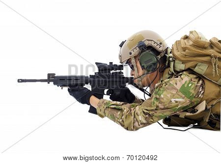 Soldier Holding Rifle Or Sniper Lying On The Floor