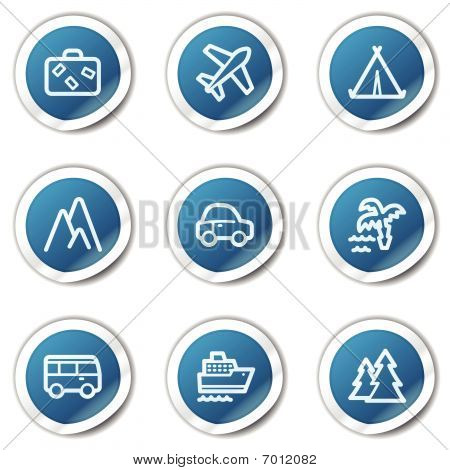 Travel web icons set 1, blue sticker series