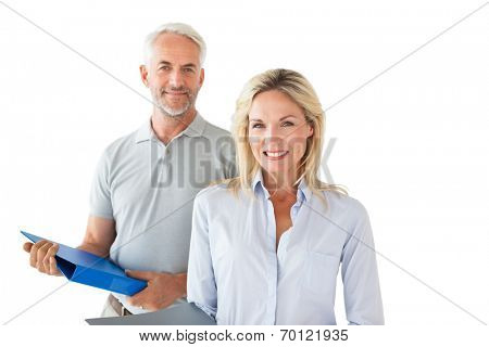 Smiling mature students looking at camera on white background