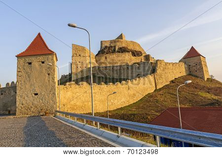 Rupea Fortress In The Warm Light Of Dawn