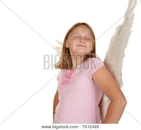 Smug Angel Fairy Girl With Wings