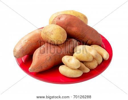Different potato cultivars isolated on white