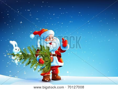 Santa Claus standing in snow and keeps the tree