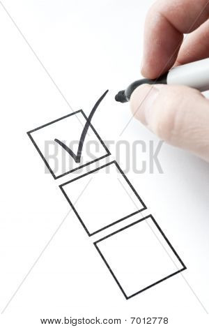 Check Mark And Box With Hand Writing