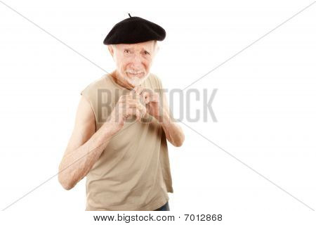 Fighting Senior Man In Beret