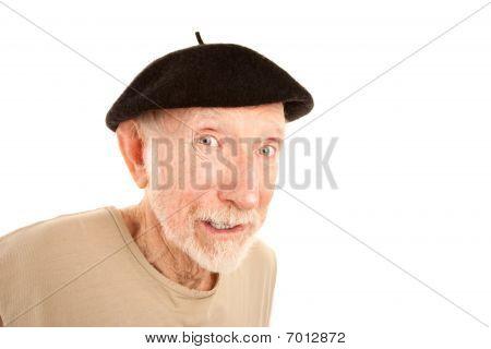 Senior Man In Black Beret