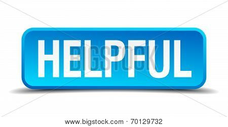 Helpful Blue 3D Realistic Square Isolated Button