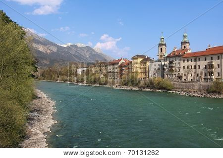 Famous Oldtown Innsbruck And River Inn