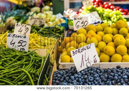 Fruits And Vegetables For Sale At Local Market In Poland.