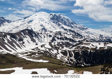 The north face of Mt. Rainier as seen from the Mt. Freemont Trail