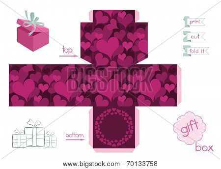 Printable Gift Box With Hearts