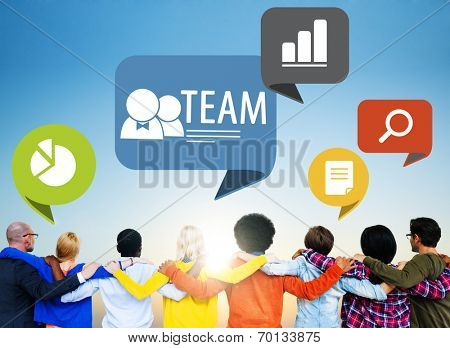 Group of People Backwards with Team Concept