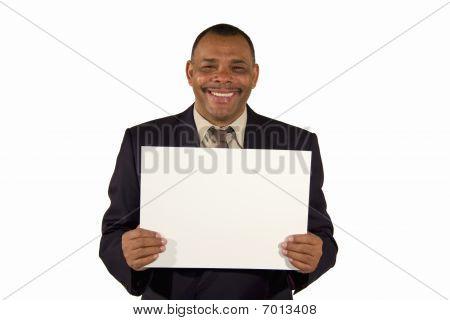 senior African-American businessman presenting board