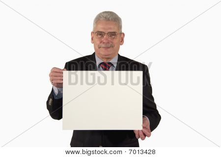 smiling senior businessman presenting board