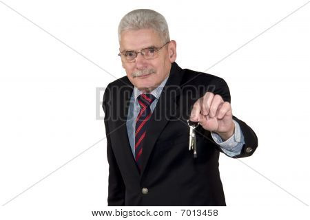 senior manager offering a key