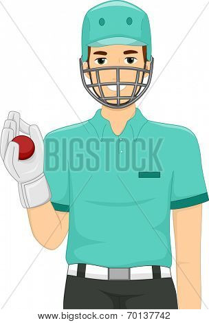 Illustration of a Man Dressed as a Wicket Keeper