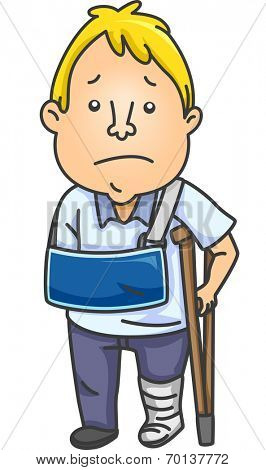 Illustration of Man With an Injured Arm and Leg
