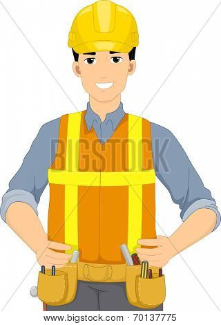 Illustration of a Man Dressed in Construction Gear