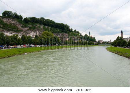 Salzach river and Salzburg embankment