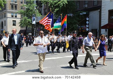 The New York City Police Commissioner William Bratton participates at LGBT Pride Parade in New York