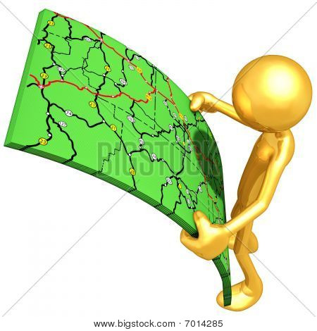 Gold Guy Looking At Road Maps