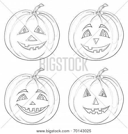 Pumpkin Jack O Lantern, contours