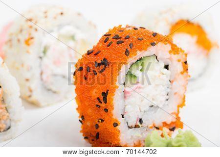 Macro shot of sushi