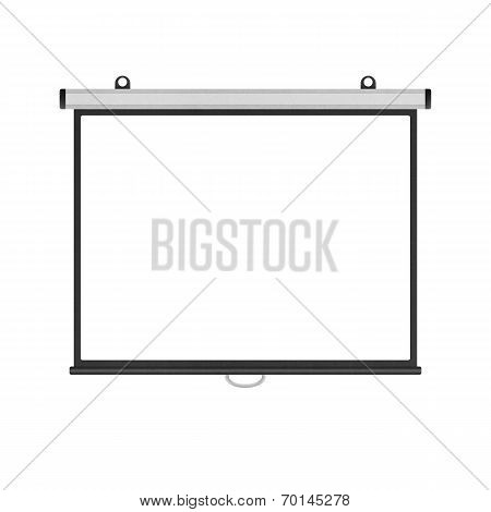Blank Projector Screen Isolated For Presentation In Business Of Paper Illustration