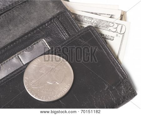 Old purse with dollars