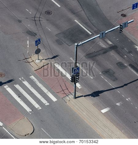 High Angle View Of A Street Intersection