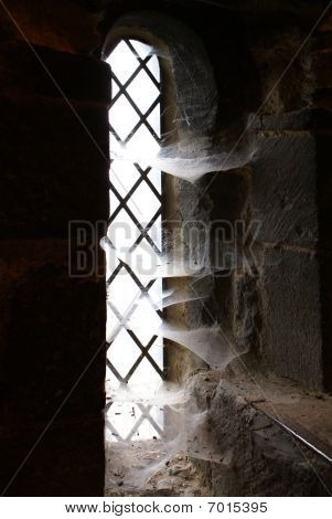 Lancet Window With Spider Webs