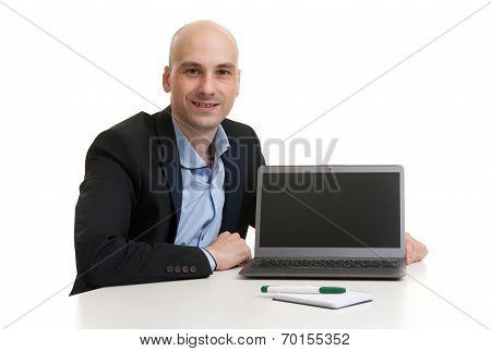 Business Man With Laptop Computer