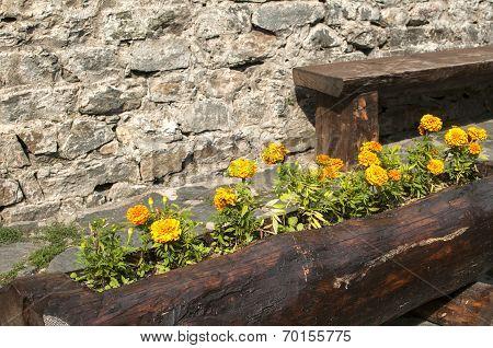 Wooden handmade flowerpot