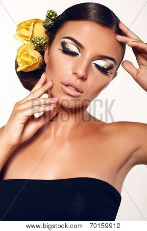 Portrait Of Beautiful Girl With Fantastic Makeup And Accessory