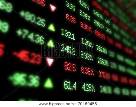 Colored ticker board on black