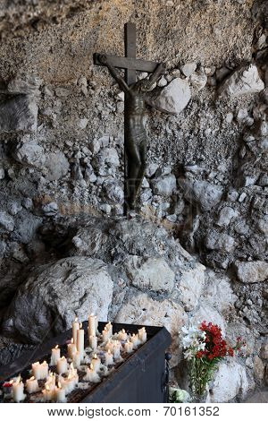 VEPRIC, CROATIA - JUNE 07: The crucifix, Shrine of Our Lady of Lourdes in Vepric, Croatia, on June 07, 2012.