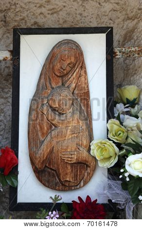 VEPRIC, CROATIA - JUNE 07: Madonna with Child, Shrine of Our Lady of Lourdes in Vepric, Croatia, on June 07, 2012.