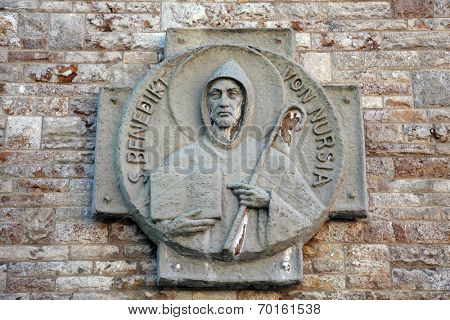 MUNSTERSCHWARZACH, GERMANY - 17 JULY:  St Benedict of Nursia. Munsterschwarzach Abbey is a Benedictine monastery located at the confluence of the rivers Schwarzach and Main in Bavaria, on July 17,2013