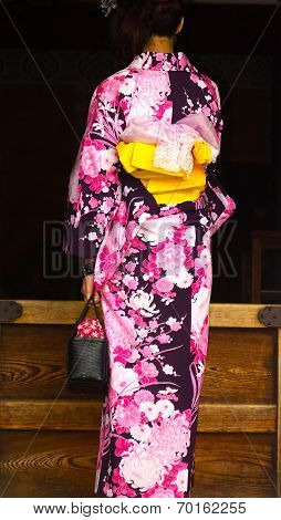 Young woman in a casual summer kimono.