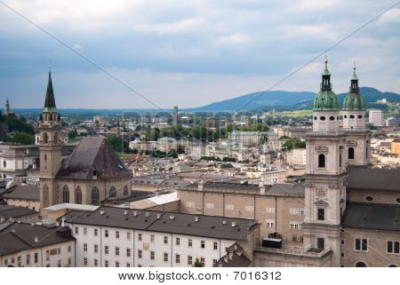 Cathedral and panoramic view of Salzburg