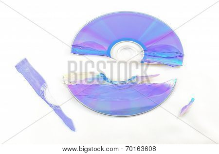 Broken Cd Isolated On White