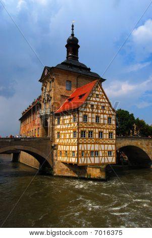 Town hall and Regnitz river Bamberg Bavaria
