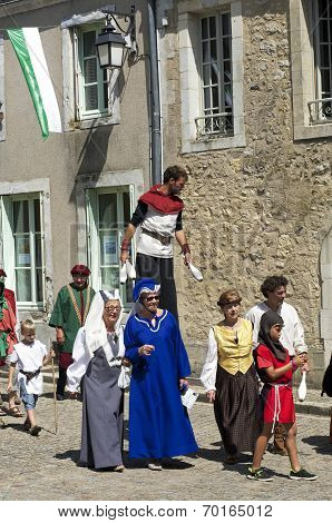 parade of characters during the medieval festival