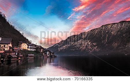 Lake Hallstatt at sunset, Salzkammergut, Austrian Alps