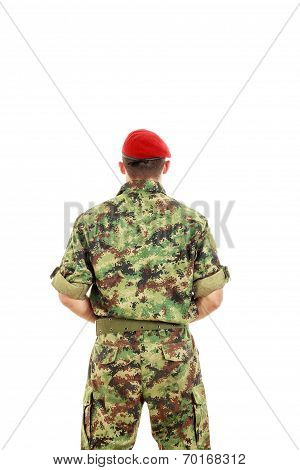 Military Army Soldier With Turned Back Wearing Uniform And Cap