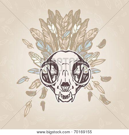 Cat Skull Vintage Aged Flower