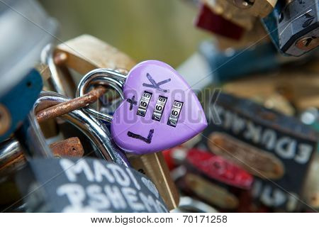 Heart shaped vintage love lock