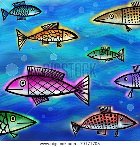 Underwater Fish Shoal Painting